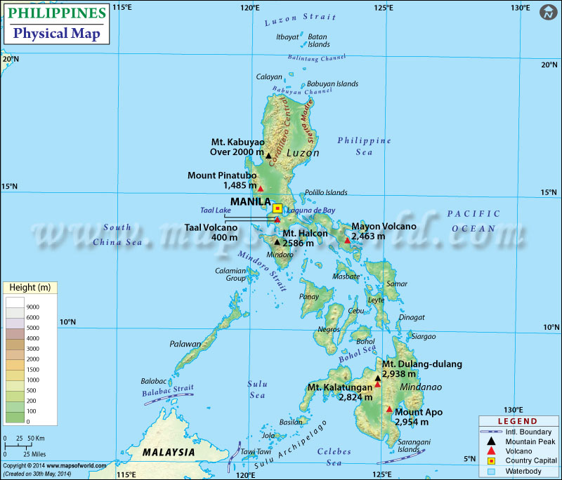 Map of Philippines – Physical Map