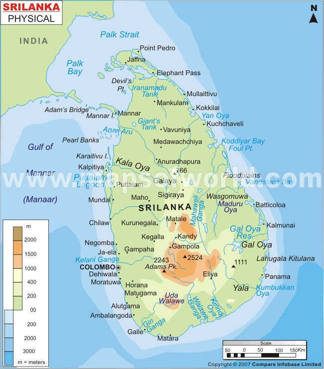 Map Of Latin America Physical. Srilanka Physical Map