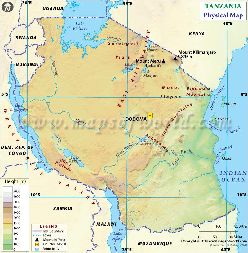 Map of Tanzania – Physical Map
