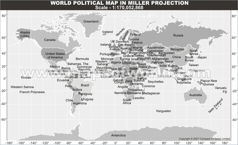 World America Centric Map in Miller Projection