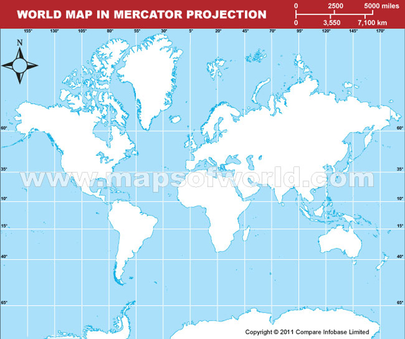 World-Outline Map Light in Mercator Projection