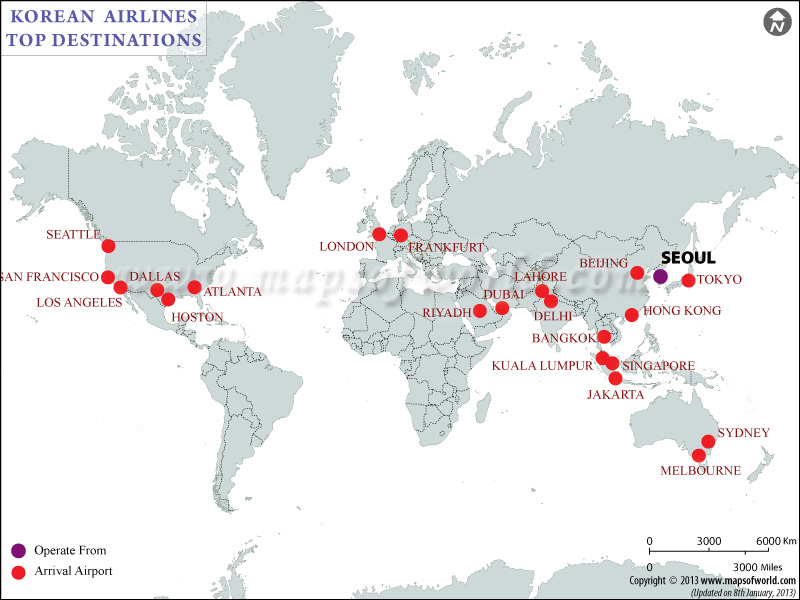 Korean Airlines Major  Destinations Map