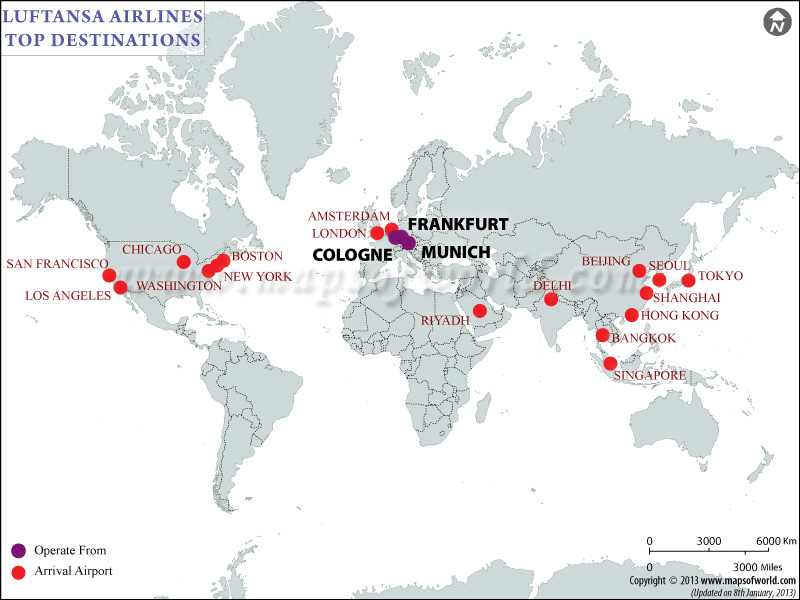 Luftansa Airlines Major Destinations Map