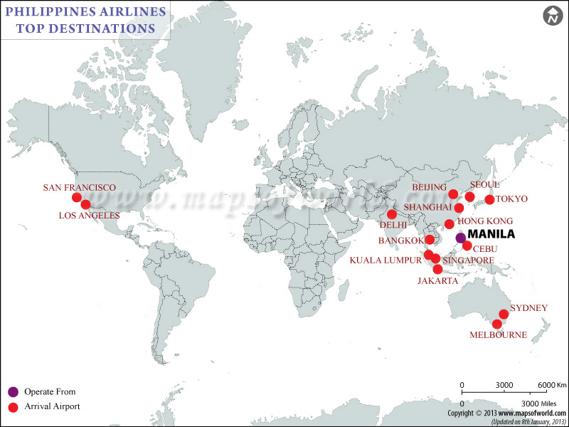 Philippine Airlines Major  Destinations Map