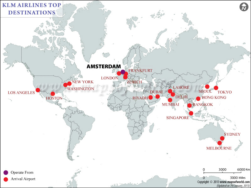 Klm Airlines Major  Destinations Map