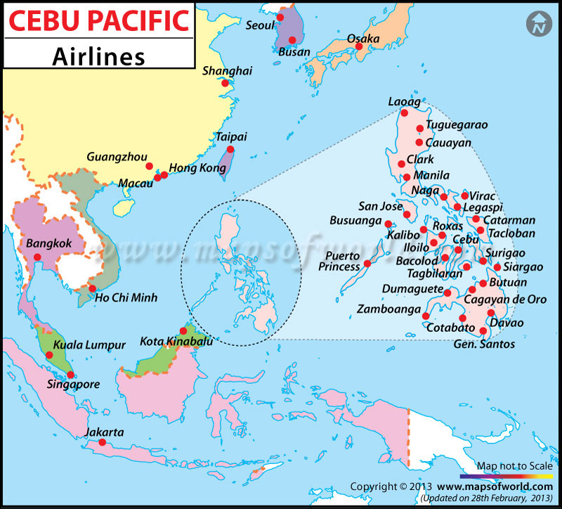 Cebu Pacific Airlines Major Destinations Map