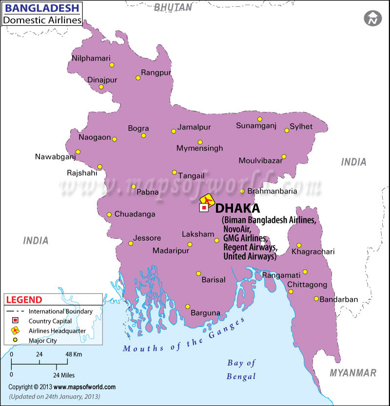 Bangladesh Regional Domestic Airlines Map