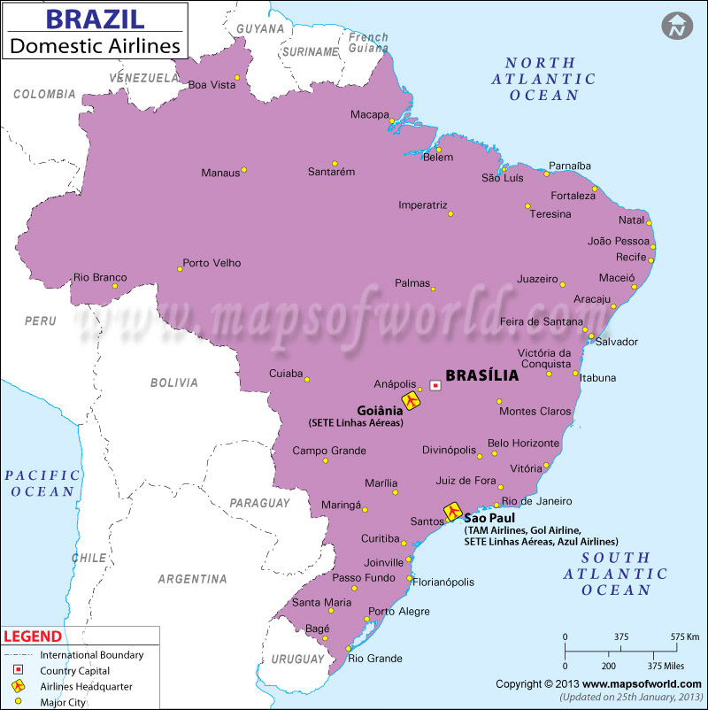 Brazil Regional Domestic Airlines Map