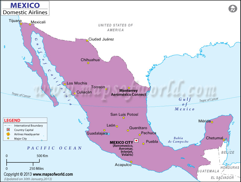 Mexico Regional Domestic Airlines Map