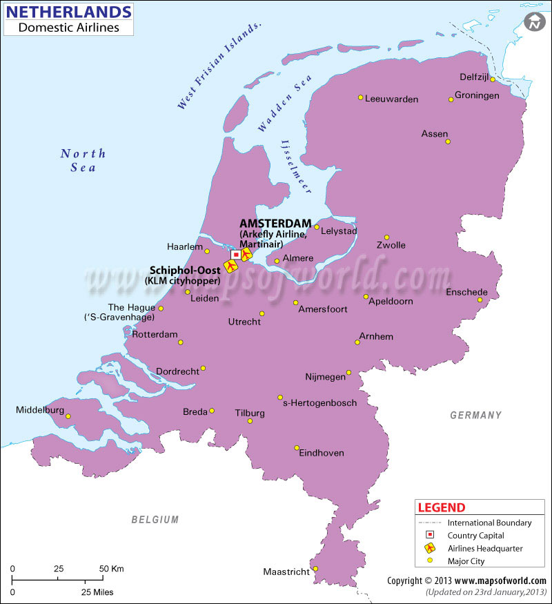 Netherlands Regional Domestic Airlines Map