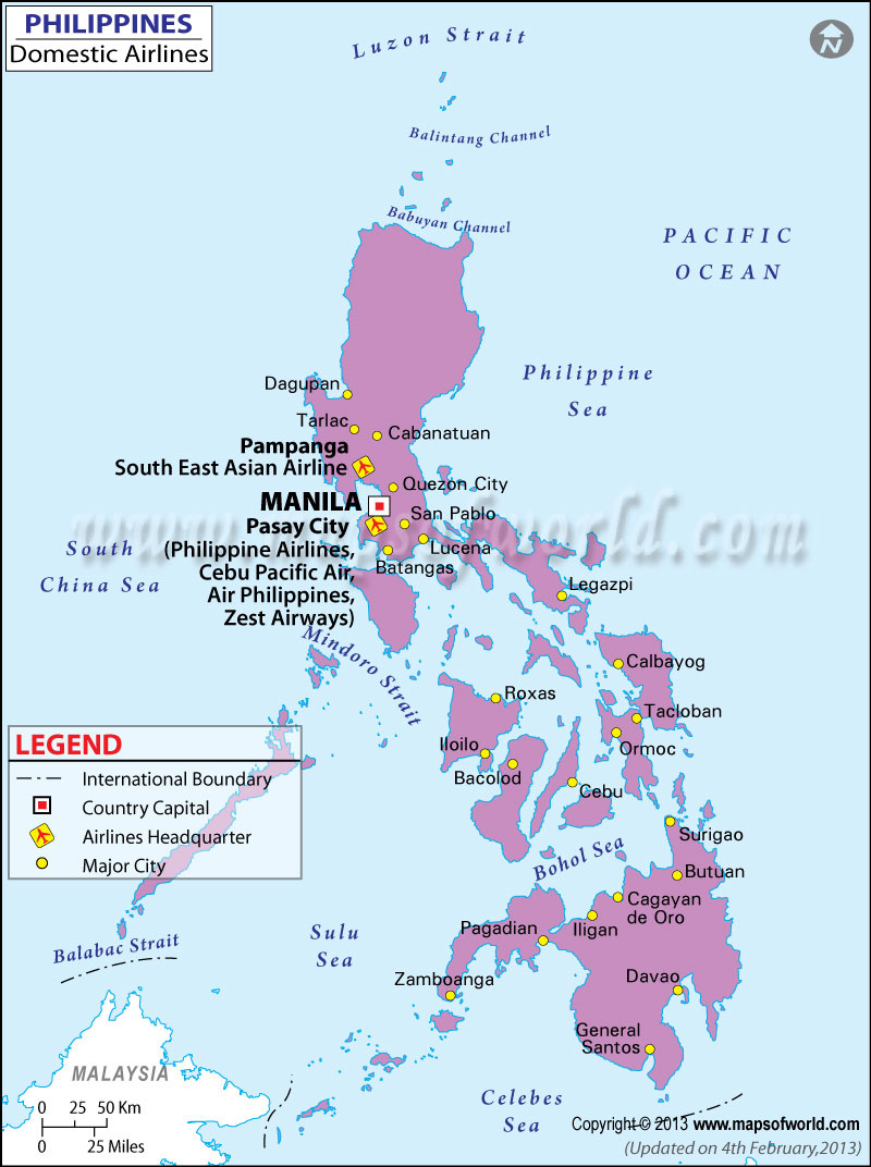 Philippines Domestic Flights Map