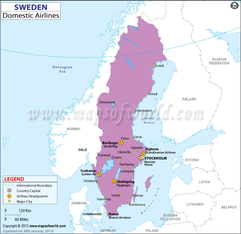 Sweden Regional Domestic Airlines Map