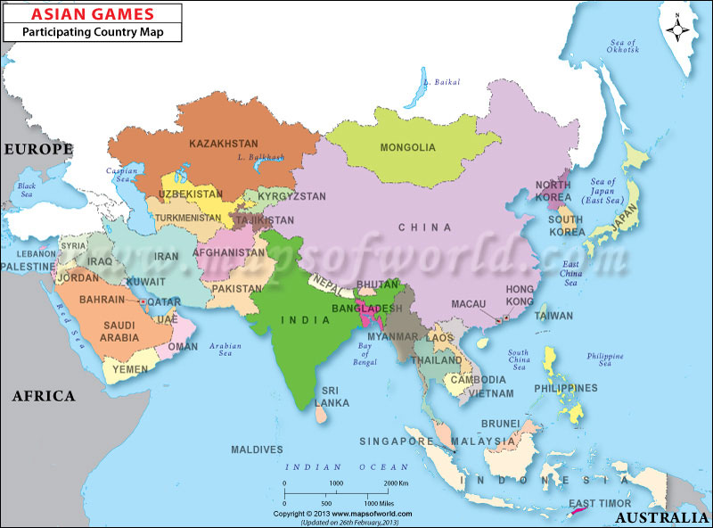 asian games participating nations map - Asian Games Nations