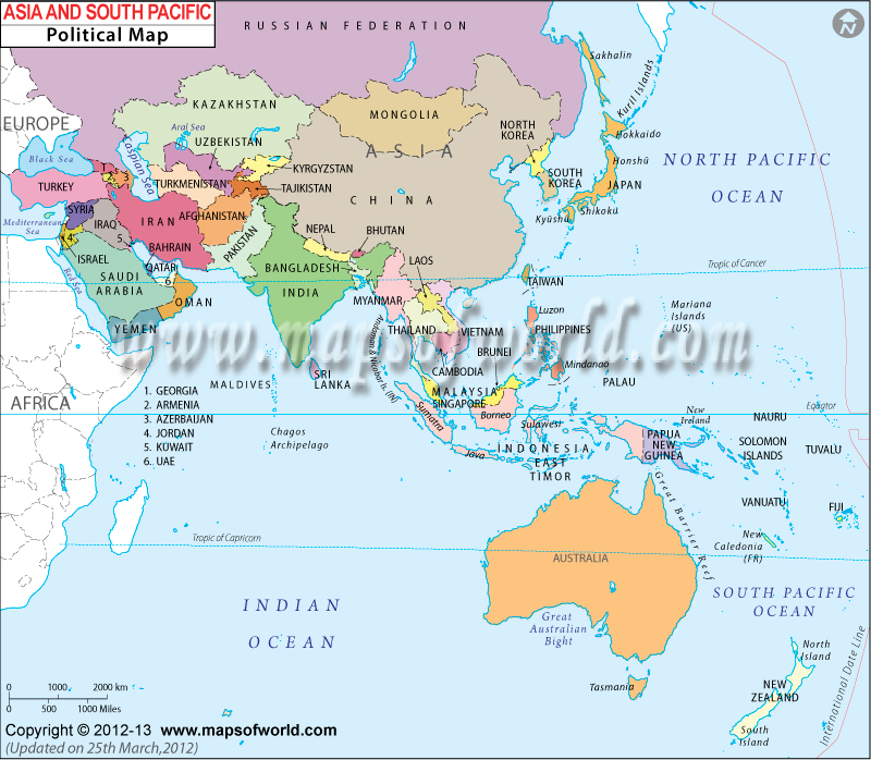 Asia and South Pacific Map