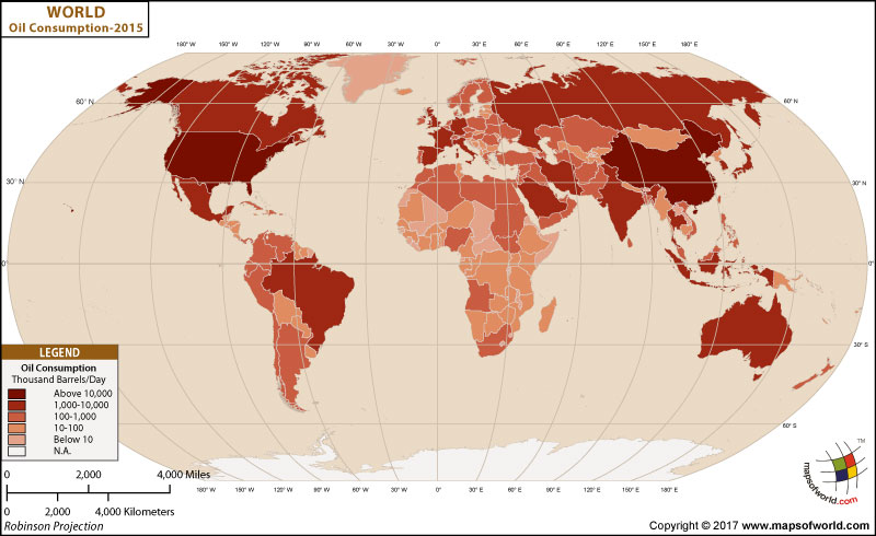 World Oil Consumption Map