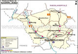 Saarland State Map