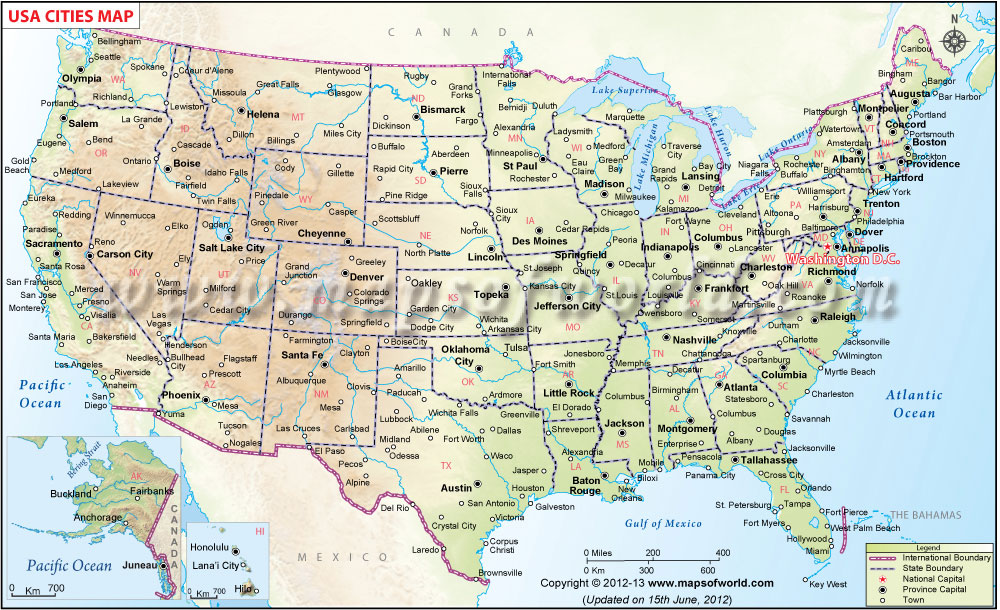 US CitiesUs Map With All Cities