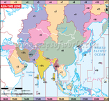 Asia Time Zone Map