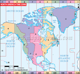 North America Time Zone Map