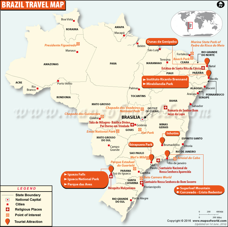 Places to Visit in Brazil – Peru Tourist Attractions Map