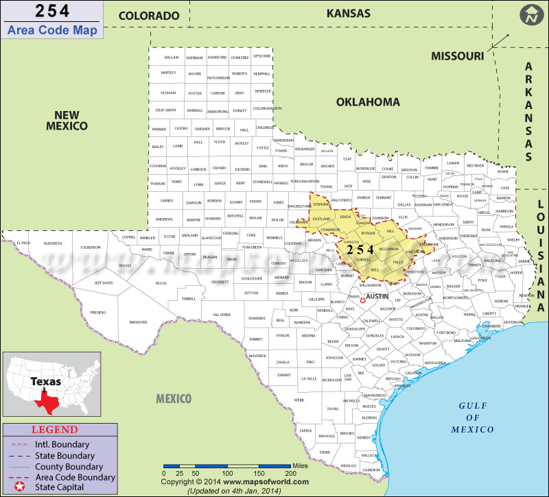 254 area code map  where is 254 area code in texas