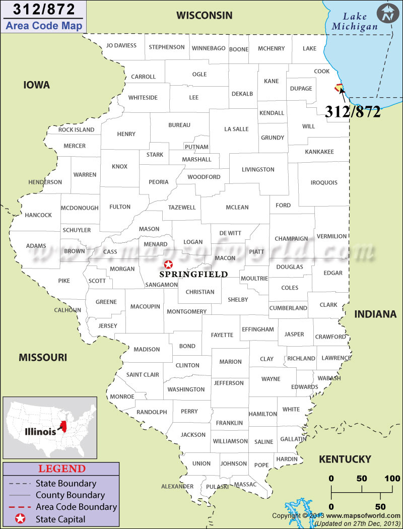 312 Area Code Map Where Is 312 Area Code In Illinois