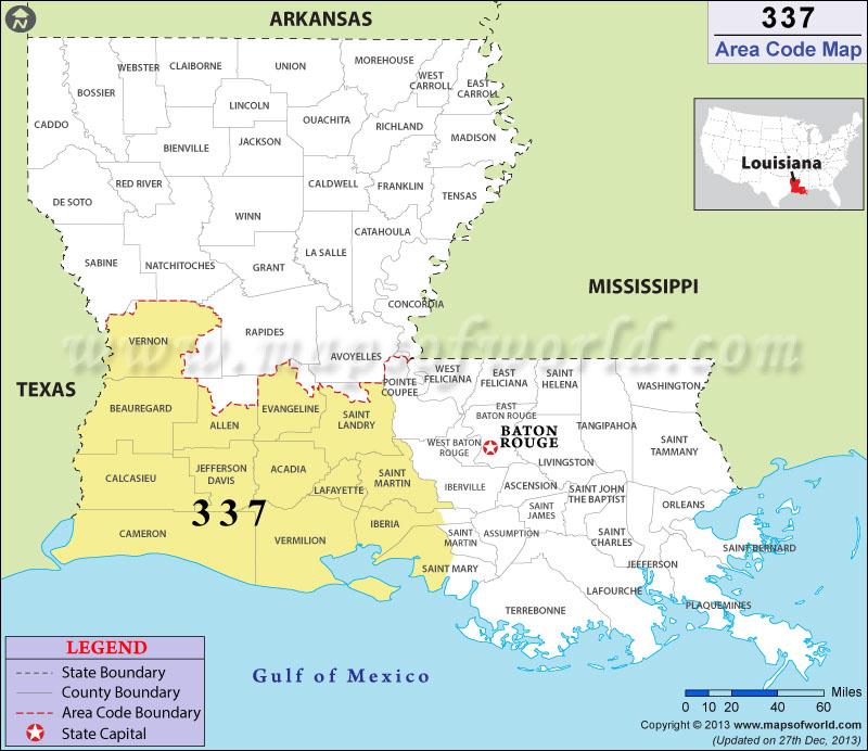 337 Area Code Map Where Is 337 Area Code In Louisiana