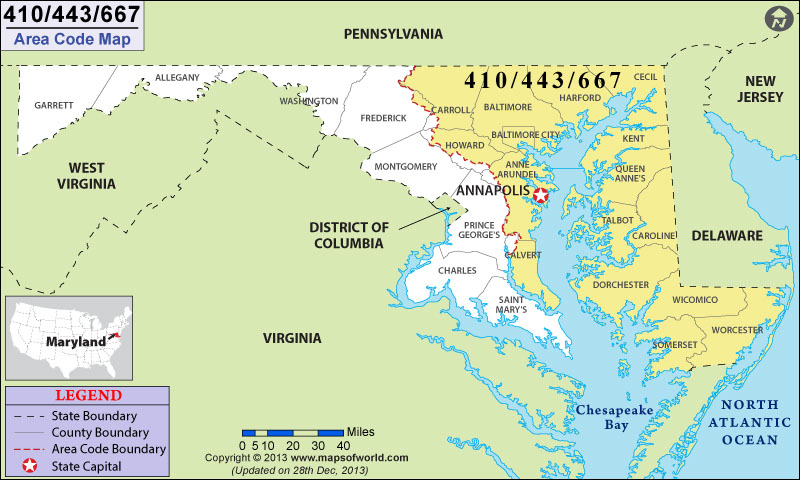 443 Area Code Map, Where is 443 Area Code in Maryland