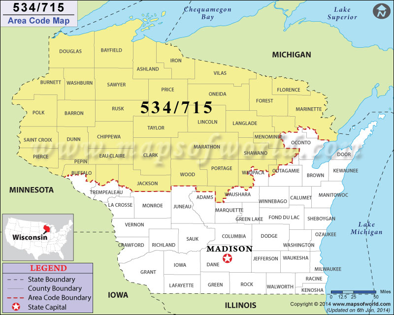 715 Area Code Map Where Is 715 Area Code In Wisconsin