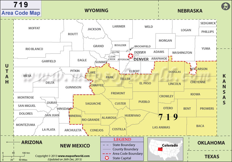 Area code 719 map of colorado area codes in blue with border states