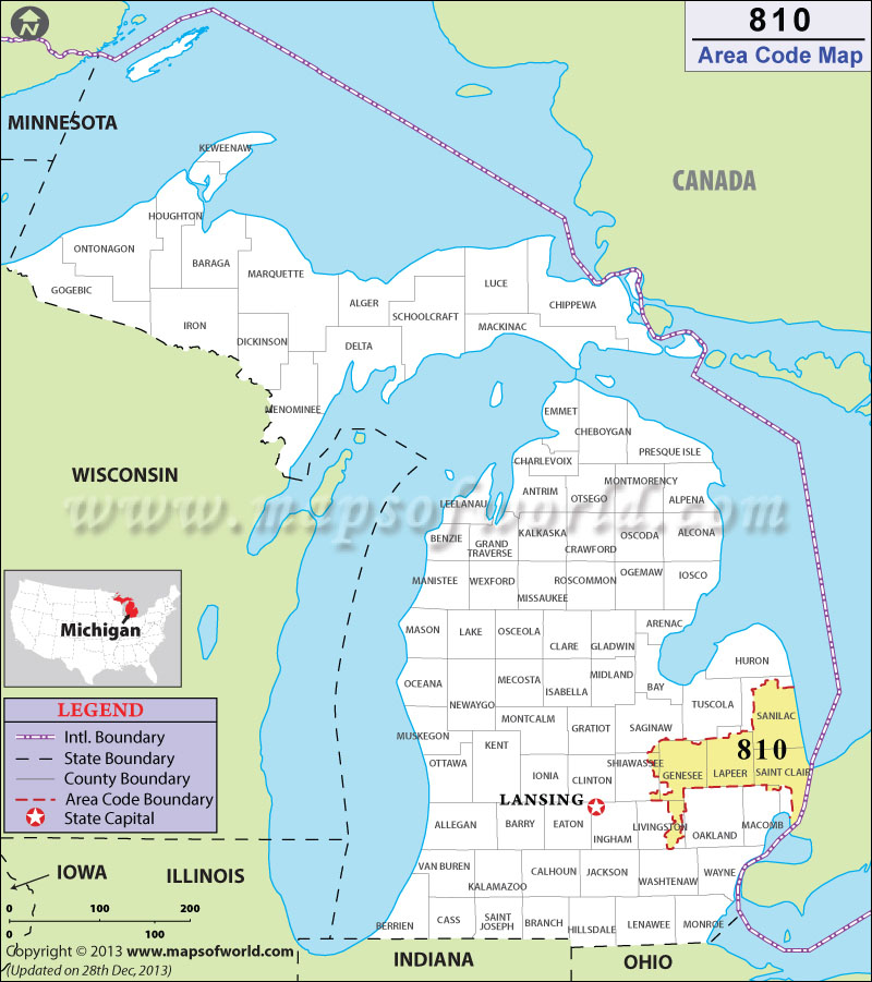810 Area Code Map Where Is 810 Area Code In Michigan