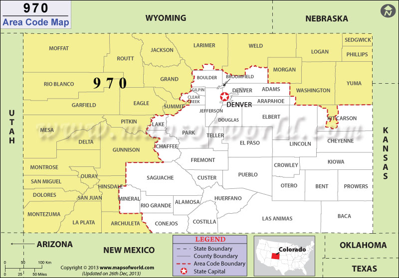 Determine the state of 970 area codes 970 area codes country codes