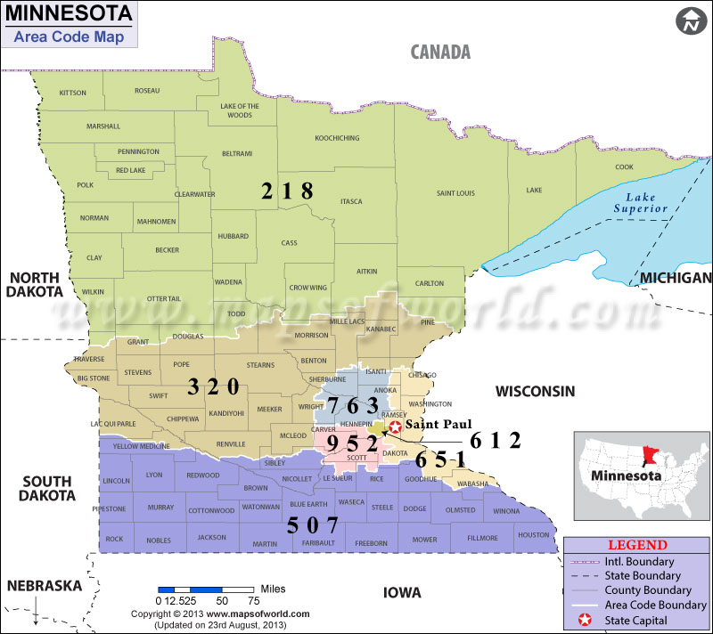 Minnesota Area Codes – Minnesota Tourist Attractions Map