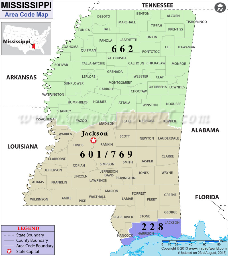 Mississippi Area Codes  Map Of Mississippi Area Codes