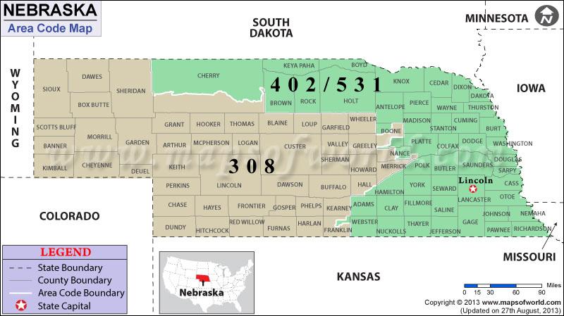 Us time zones nebraska map