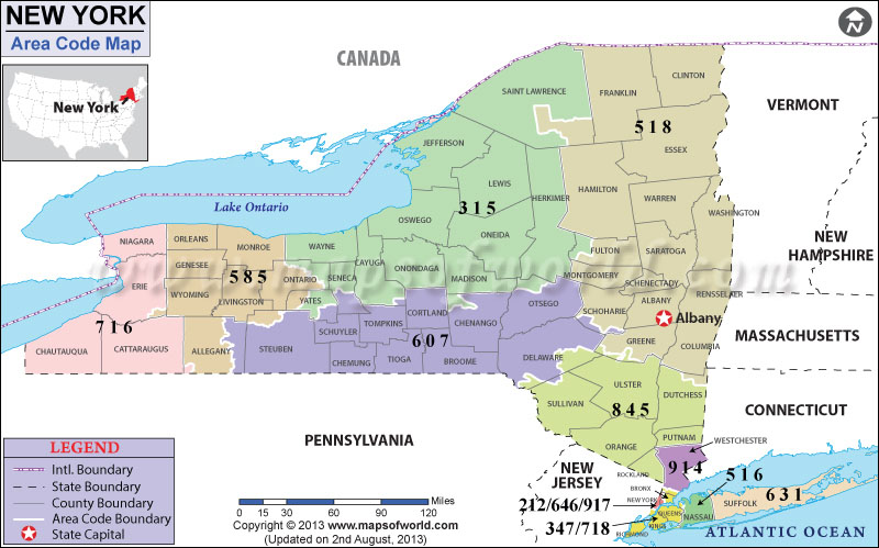 New York Area Codes  Map Of New York Area Codes