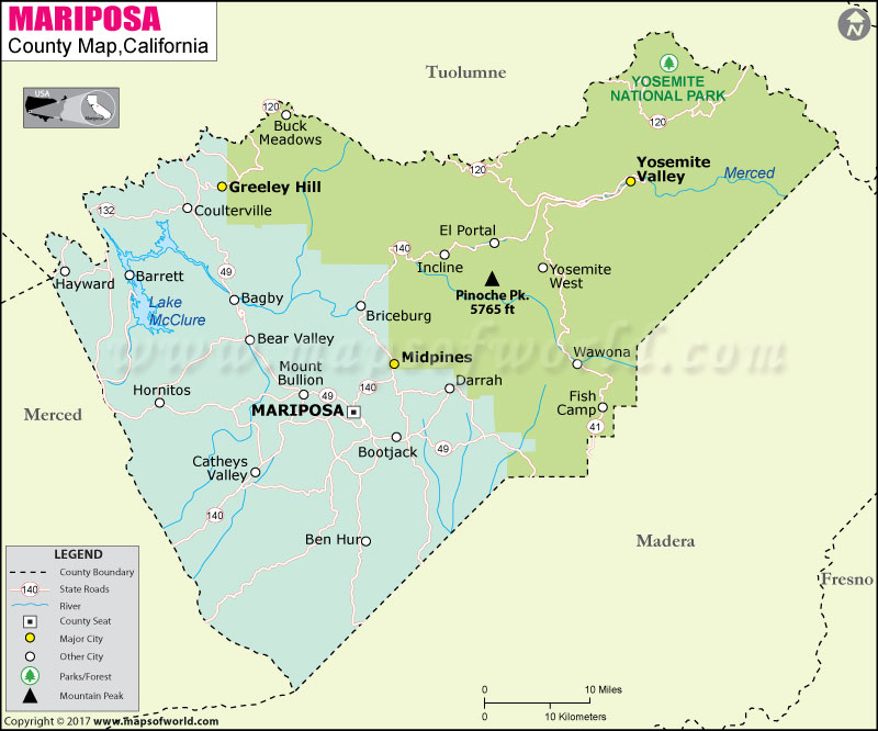 Mariposa County Map