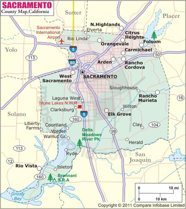 Sacramento County Map, Map of Sacramento County