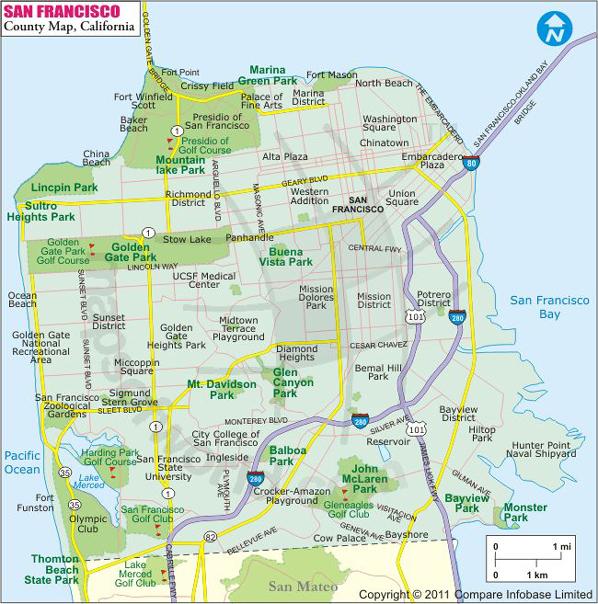 San Francisco County Map Map of San Francisco County California – San Francisco City Map Tourist