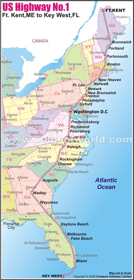 Us route 1 map us highway 1 from ft kent me to key west fl for Map of east coast of florida