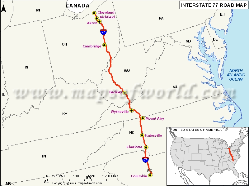 US Interstate 77 Columbia South Carolina to Cleveland Ohio – Interstate Weather Maps Travel