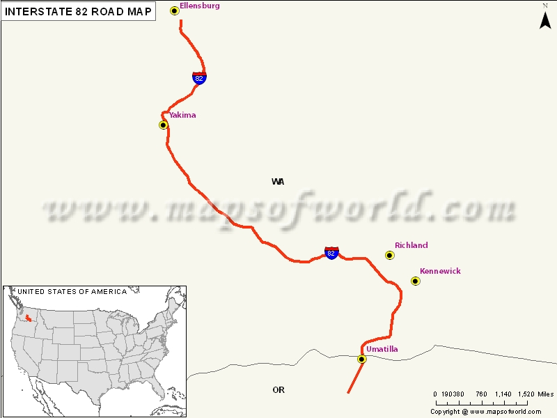 US Interstate 82 Ellensburg Washington to Hermiston Oregon – Interstate Weather Maps Travel
