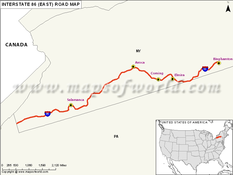 US Interstate 86 East Map Erie Pennsylvania to Elmira New York – Interstate Weather Maps Travel