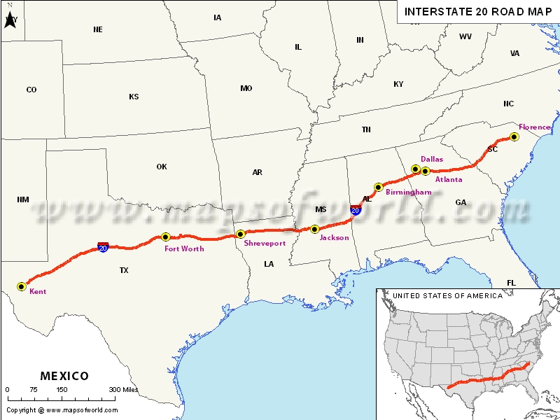 Interstate 20 Map USA – Interstate Weather Maps Travel