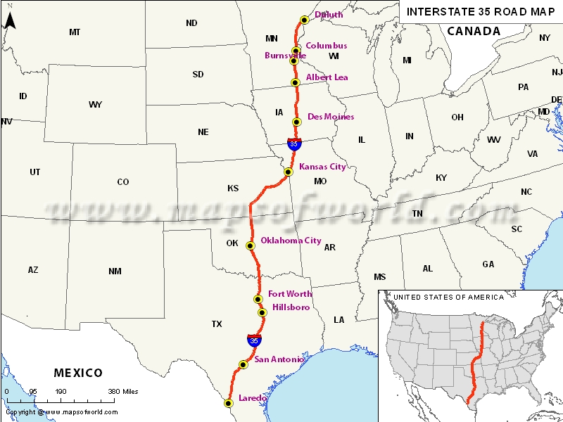 US Interstate 35 Map Laredo Texas to Duluth Minnesota – Interstate Weather Maps Travel