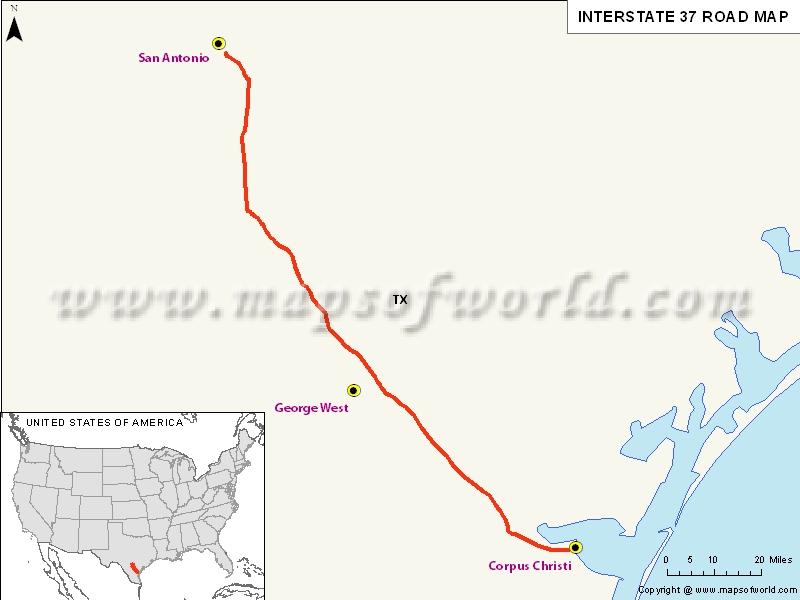 Us Interstate 37 I 37 Map Corpus Christi Texas To San
