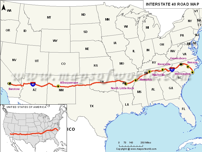 Interstate 40 Map USA – Interstate Weather Maps Travel
