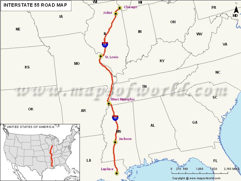 USA Interstate 55 Map