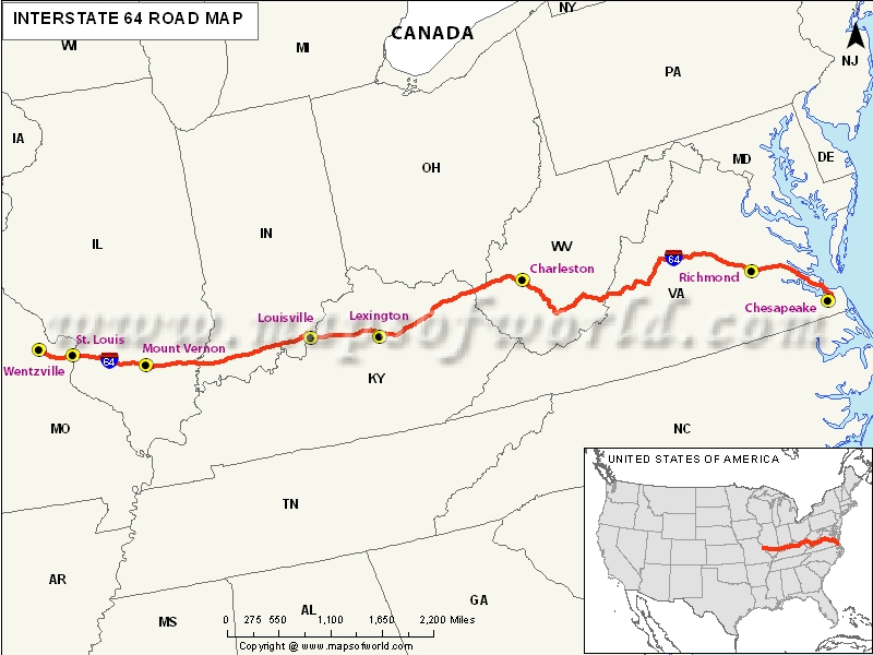 US Interstate 64 Map Wentzville Missouri to Chesapeake Virginia – Interstate Weather Maps Travel