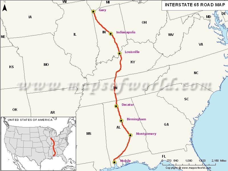 USA Interstate 65 Map
